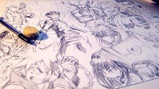 Drawing EPIC 10 Anime Character Splash Page - Anime Manga Sketch
