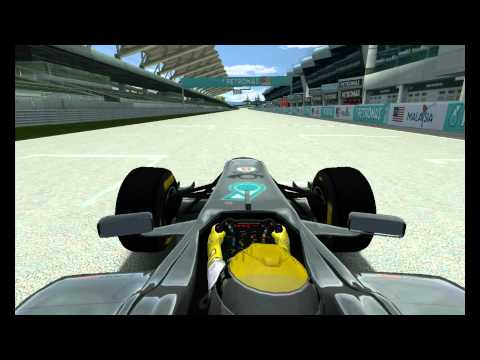 rFactor - F1 2011 - On board with Nico Rosberg in mercedes + Interlagos + Malaysia