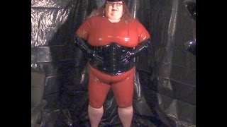 15 006-  BBW FetishKimmy Brown Latex and Heels-  Standing Poses