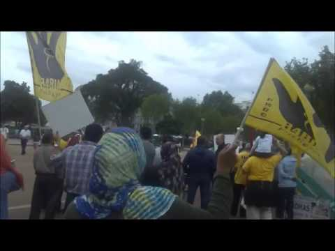 Egyptian Anti Bloody Coup Protest at the front of White House ضد الانقلاب الدموي