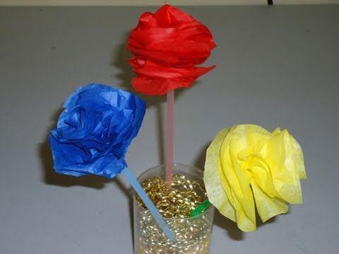 Episodio 571 c mo hacer flores de colores con papel de - Como hacer jarrones de papel ...