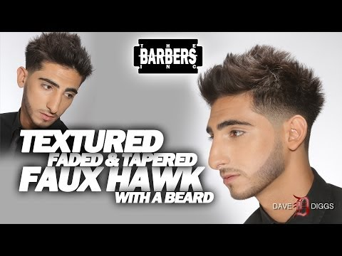 HOW TO - Faux Hawk / Mohawk Texturized. Faded. and Tapered with Beard   Men's Haircut Tutorial