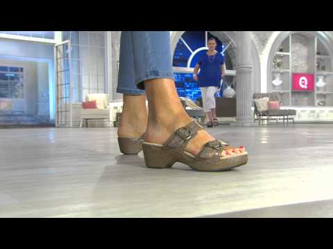 Dansko Leather Slide Sandals with Double Adj. Straps - Sophie with Jane Treacy