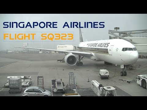 Boarding, taxi and take-off to Singapore with Singapore Airlines
