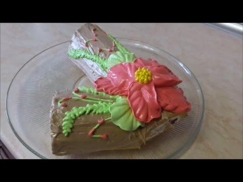 Рулет РОЖДЕСТВЕНСКОЕ ПОЛЕНО Рецепт рулет МОРКОВНЫЙ Украшение Cake decoration