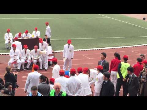 Emanuele PyongYang Marathon Arrival in the Stadium