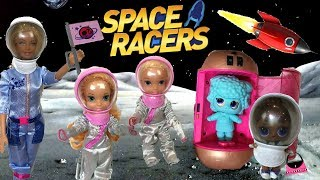 Barbie Space Race - Anna and Elsa Toddlers & LOL Surprise Dolls Space Racers - Under Wraps - Rockets