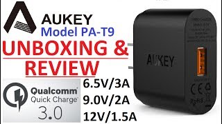 Unboxing & Review : Aukey PA-T9 Qualcomm Quick Charge 3.0 Single USB Wall Charger 6.5V 9V 12V