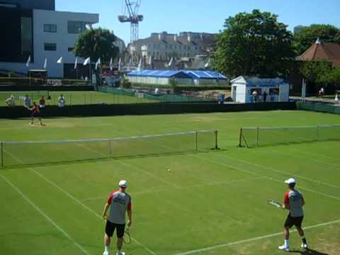 AEGON GB Davis Cup players Jamie Baker and Alex Ward hitting during practice on the second day of the Davis Cup by BNP Paribas tie between Great Britain and ...