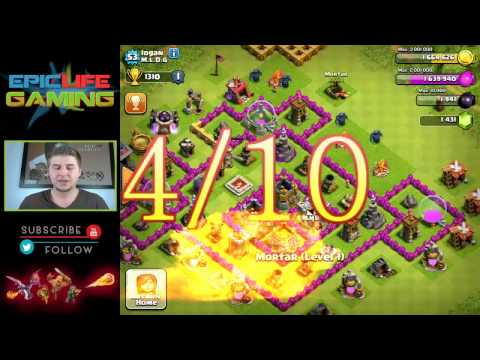 Clash of Clans Base Review - Town Hall Level 8 - Farming Base - Defensive Base - Trophy War Base #1