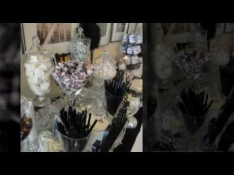 Flor's Wedding- Black, Silver & White Candy Buffet & Dessert Bar