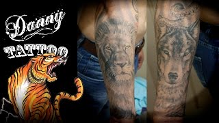 Tatuagem: O Lobo e o Leão - Danny Tattoo (The Wolf and the Lion) TimeLapse