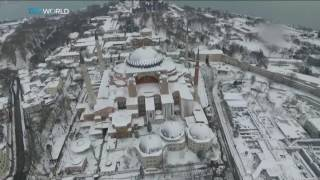Drone footage of Istanbul blanketed by snow