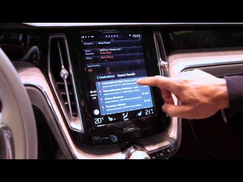 Apple Carplay Demo in Volvo Concept Estate -- Geneva Motor Show 2014