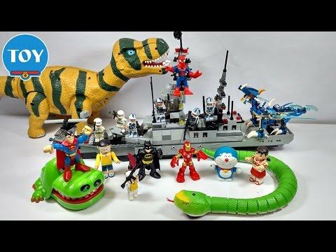 đồ chơi Doremon - Nobita chơi lái tàu chiến bắn khủng long và con rắn quậy phá thumbnail