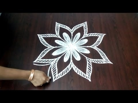 Easy Flower Rangoli Design ||  Simple Flower Kolam  ||  Simple Chukkala Mugulu || Fashion World