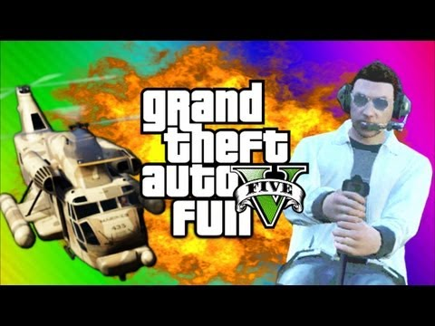GTA 5 Online Funny Moments Gameplay 6 - Airfield Trolling. Cargobob. Car Heist (Multiplayer)