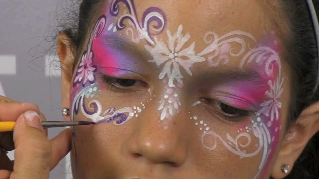 Pretty face painting mask design tutorial youtube for Pretty designs to paint