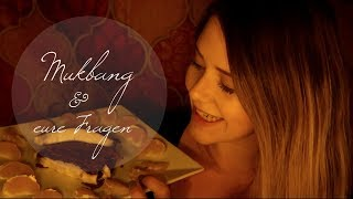 ASMR Süßes MUKBANG & eure Fragen ♡ Carrot Cake Cream Cheese Frosting Eating Sounds in German/Deutsch