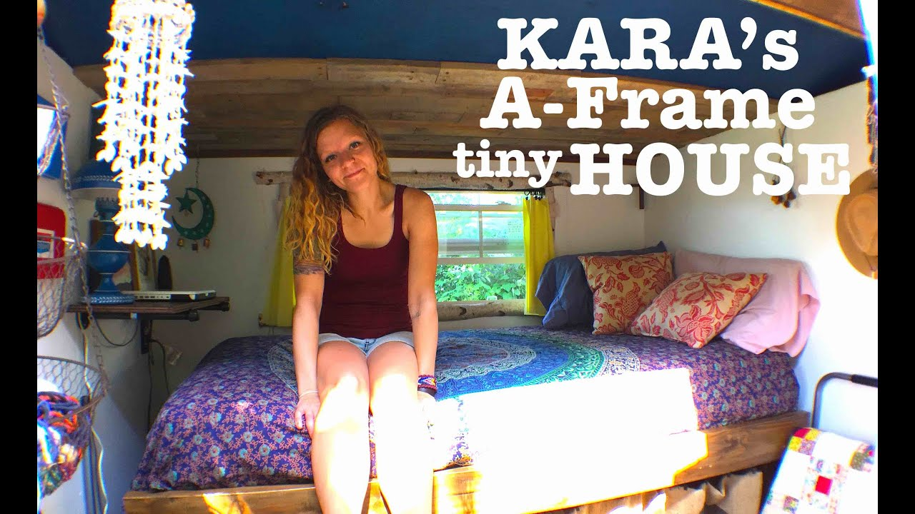 Woman builds and lives in her own Tiny House A Frame cabin....