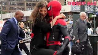 Spiderman filming with Zendaya and Tom Holland!