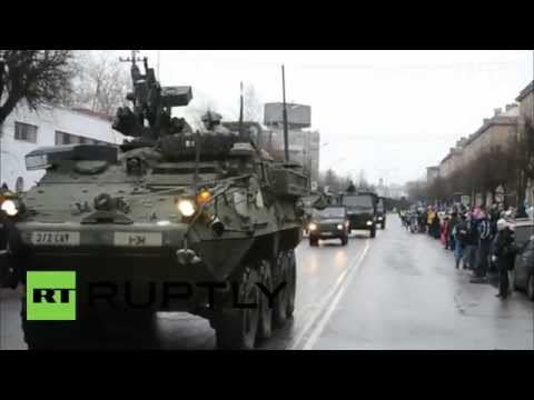 Estonia: NATO vehicles parade yards from Russian border