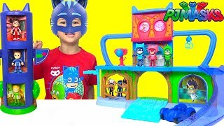 PJ Masks Headquarters Playset Toys Unboxing And Playing With Hero Boost Catboy Owlette Gekko