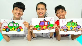 KuMin Kids Go To School Learn Coloring Toy Police Car   Classroom Funny Nursery Rhymes