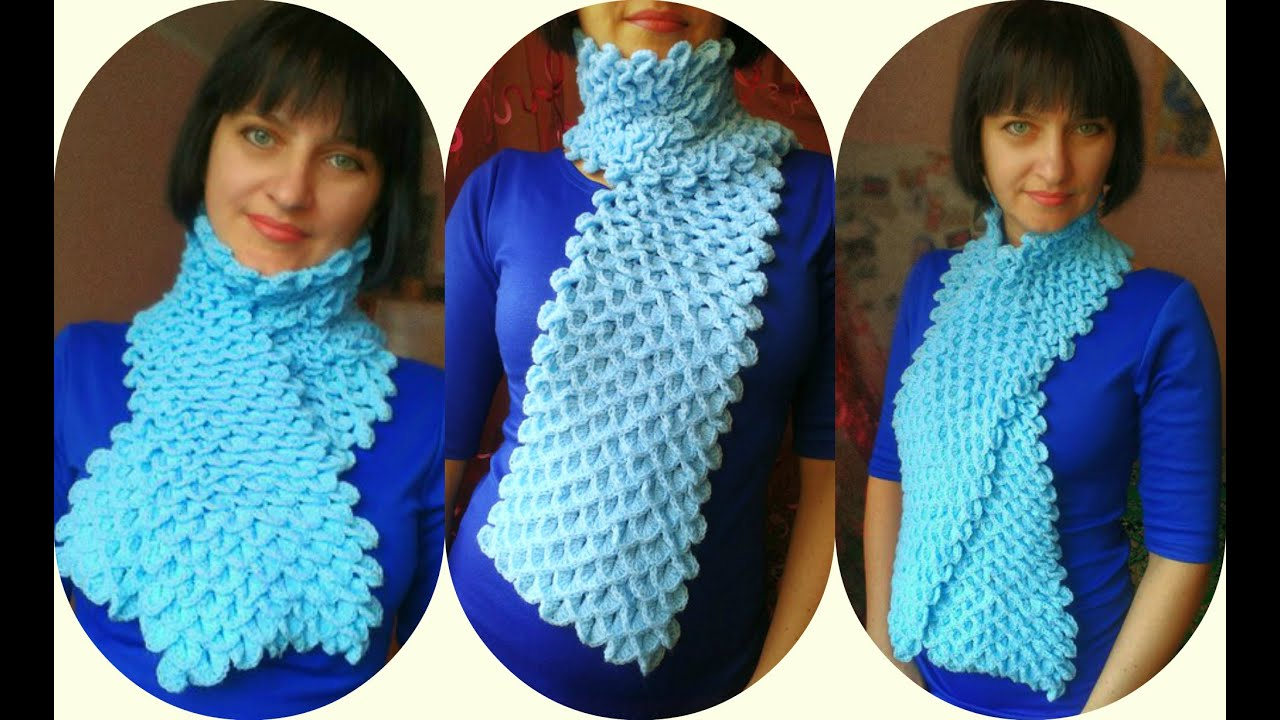Вязание крючком начинающих шарфик