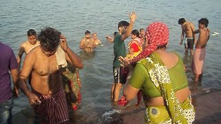 Holy And Hot River Bath At The Ganges