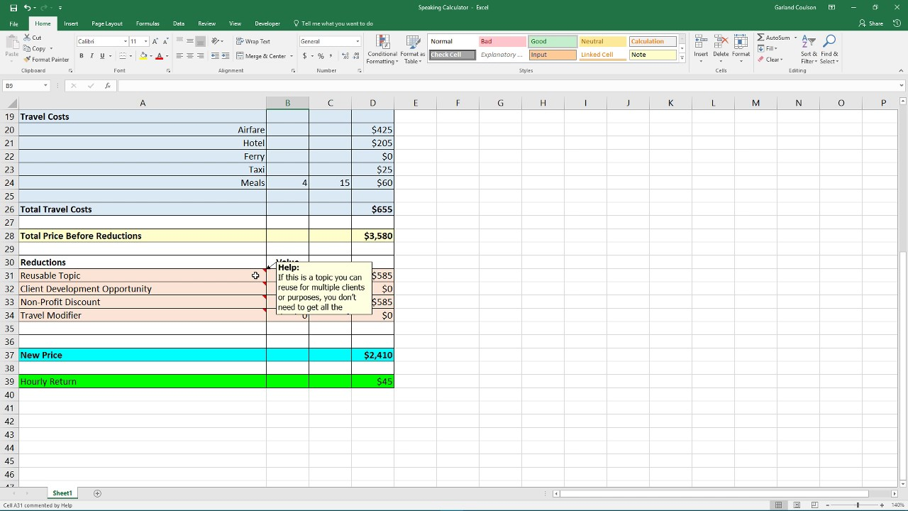 Excel Pricing Template