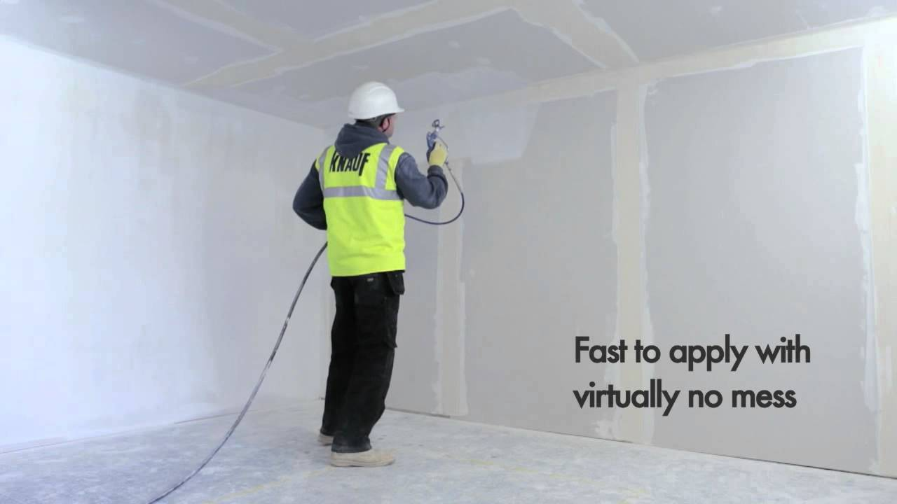 Knauf Readymix Spray Plaster Youtube
