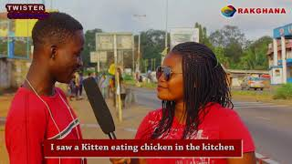 Twister Challenge: I saw a kitten eating chicken in the kitchen Street Quiz | Funny Videos