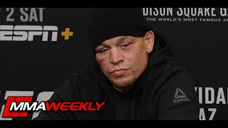 Isn't it ironic? Was Nate Diaz playing a joke on the press? (UFC 244 post-fight)