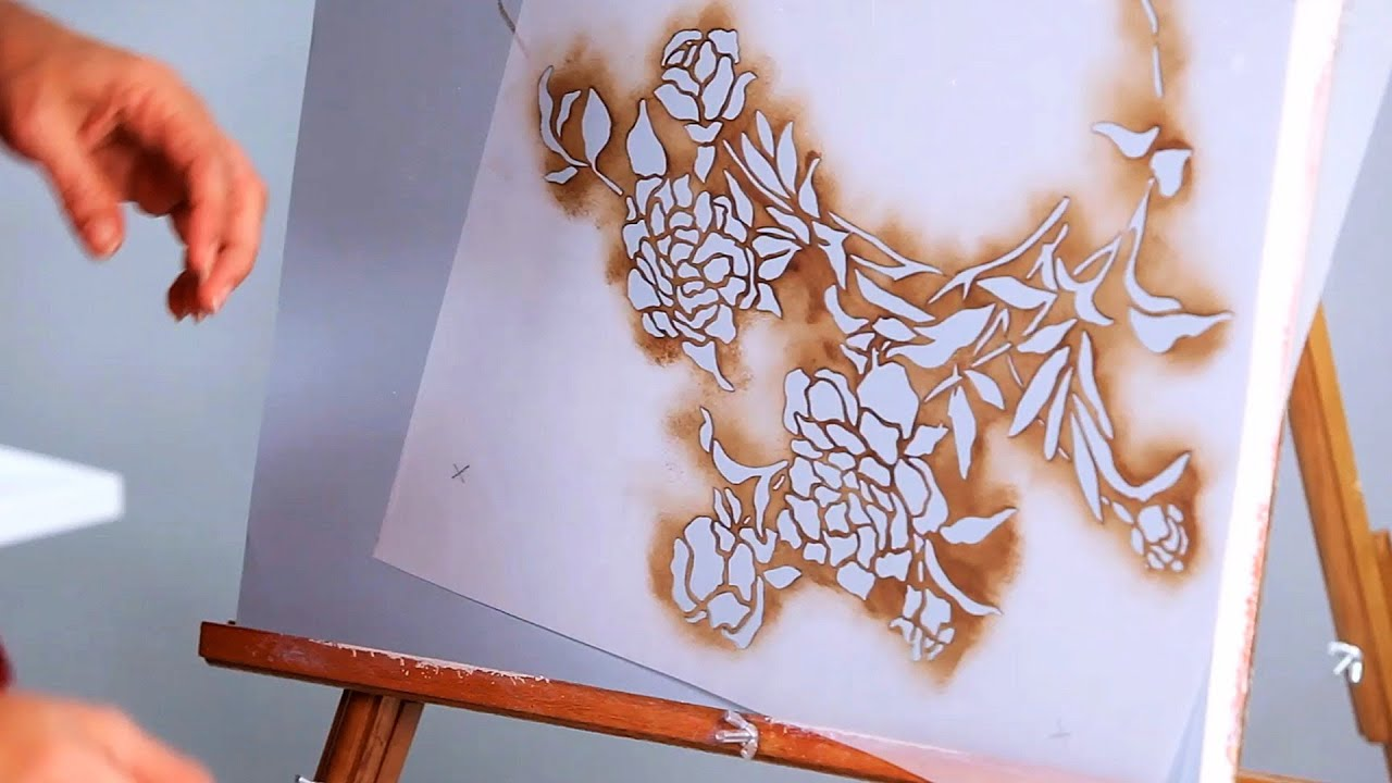 How to stencil a wall with paint paint techniques youtube for Wall spray painting designs