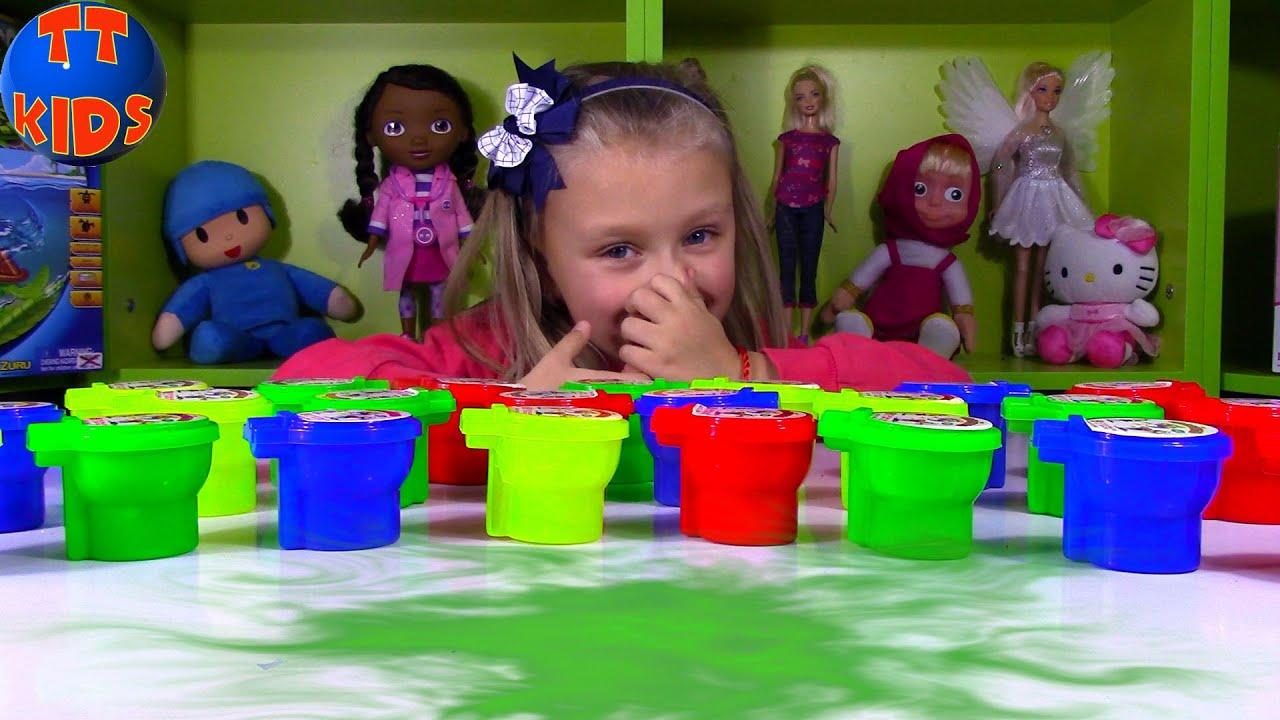 Challenge for Kids Noise Putty Slime | ЧЕЛЛЕНДЖ ЛИЗУН Пукающие Лизуны Видео для детей Tiki Taki