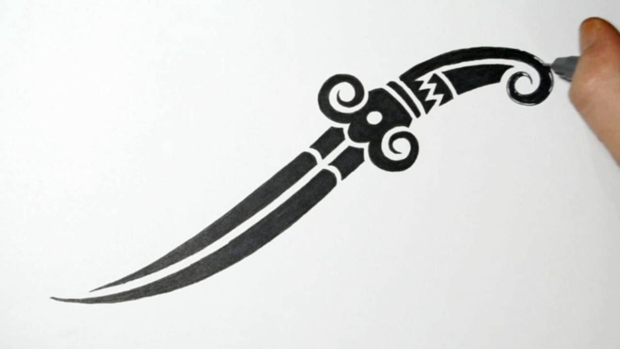 designs tattoo tribal knife Knife Drawing Tattoo Drawing Dagger a Tribal Knife