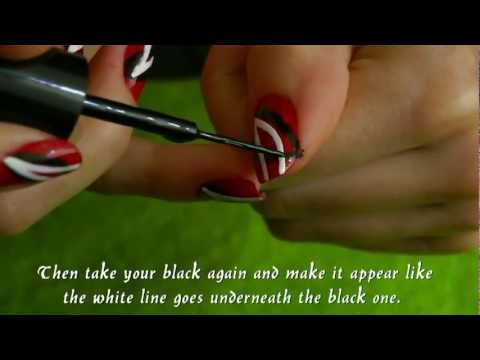 Nail art tutorial: Red with black and white stripes