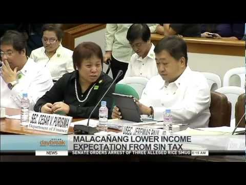 Malacanang Lower Income Expectation From Sin Tax