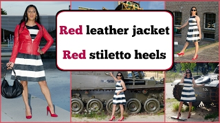 Crossdresser - red leather jacket and stiletto high heels | NatCrys