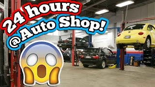 24 HOUR OVERNIGHT CHALLENGE AT THE CAR MECHANIC!! BEST OVERNIGHT FORT CHALLENGE AT AN AUTO SHOP!