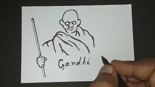 Sketch of Mahatma Gandhi   How to Draw Gandhi jayanti Drawing Easy for kids