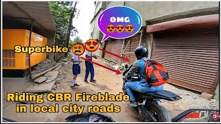 Riding CBR Fireblade 1000RR on Local City Roads | Reaction to Superbikes in India 😍