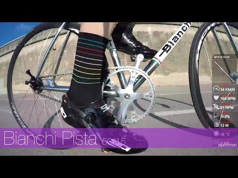 Cycling in Catalonia Spain - Bianchi Pista Steel fixed gear track bike 50-17