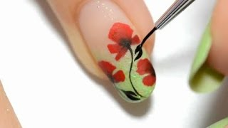 Easy Nail Art Poppy design One stroke