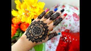 Karva chauth special famous stylish easy mandala/gol tikki henna mehndi design for hands tutorial