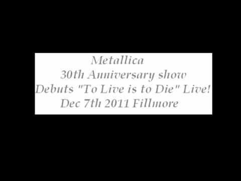 Metallica - To Live Is To Die - Live Debut! - 30th Anniversary!