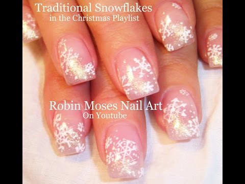 Easy Snowflake Nails   Pink and White Glitter Nail Art Design Tutorial