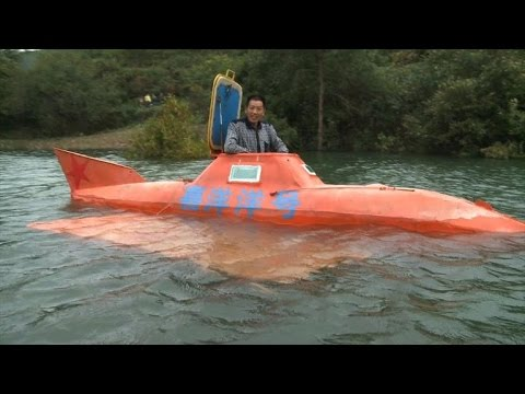 Chinese farmer finds new life in an orange submarine