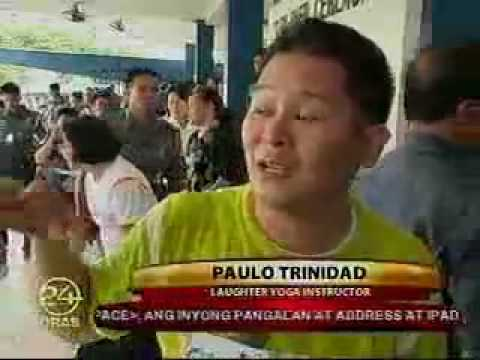Laughter yoga among police in Phillipine by Paolo